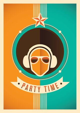 party time: Illustrated party time poster. Illustration