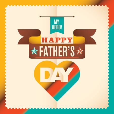 fatherhood: Modern fathers day card design in color. Illustration
