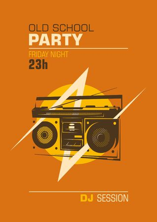ghetto blaster: Old school party poster. Illustration