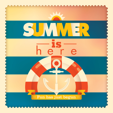 lifebelt: Summer illustration with lifebelt and anchor.