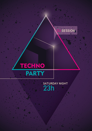 techno: Modern techno party poster.