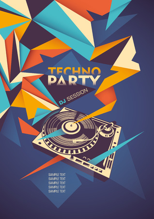 Techno party poster with turntable.