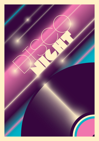retro disco: Abstract disco night poster.