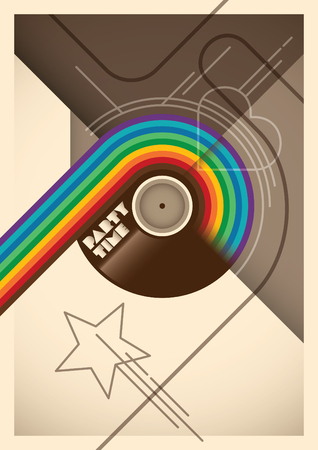 rainbow abstract: Abstract party poster with rainbow.