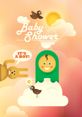 comic baby: Comic baby shower illustration with a baby boy.