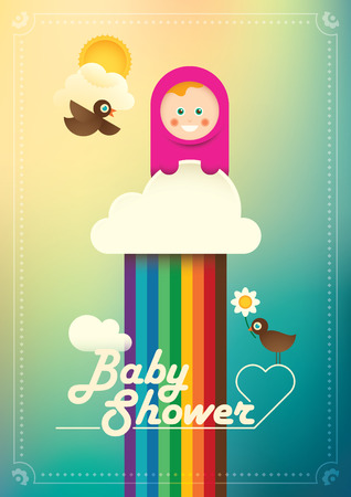 comic baby: Comic baby shower poster in color.