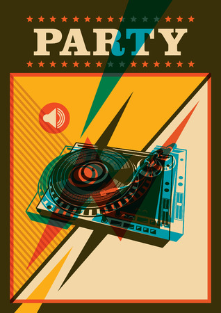 turntable: Retro party poster with turntable. Illustration