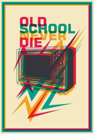 retro tv: Retro poster with TV. Illustration