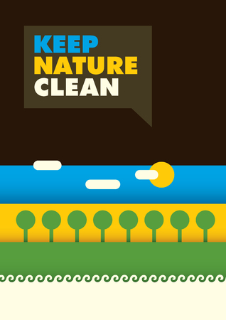eco slogan: Minimalist ecology poster in color.