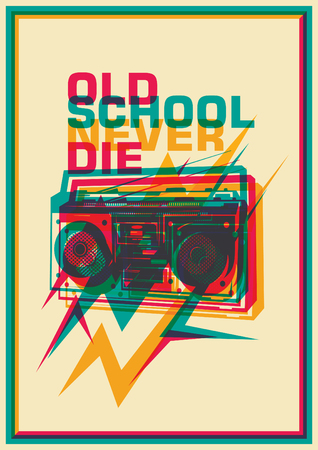 blaster: Retro poster with ghetto blaster.