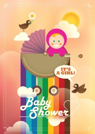 baby girl: Colorful baby shower illustration with baby girl. Illustration