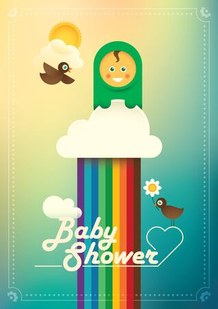 comic baby: Comic baby shower poster. Illustration