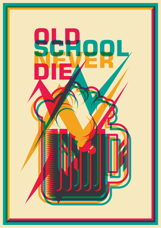 Old school poster with mug of beer.