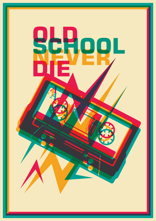 compact cassette: Old school poster with compact cassette. Illustration