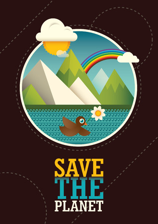 eco slogan: Comic ecology poster design.