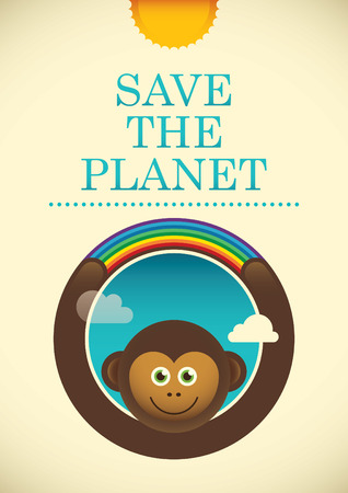 eco slogan: Ecology poster with comic monkey. Illustration