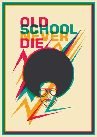 femine: Retro funky poster. Illustration