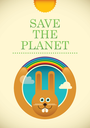 eco slogan: Ecology poster with comic rabbit. Illustration