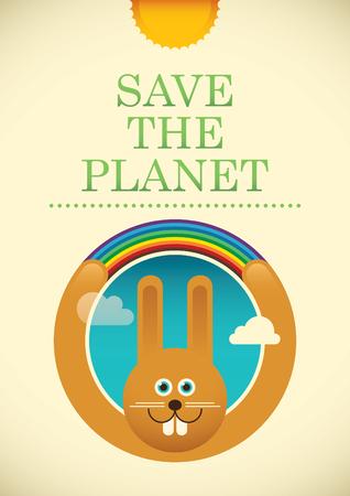 eco slogan: Ecology poster with comic rabbit. Illustration