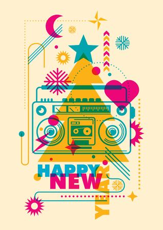 ghetto blaster: Modish New Year poster in color.