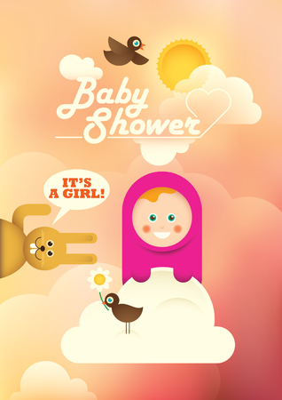 comic baby: Comic baby shower illustration with a baby girl.