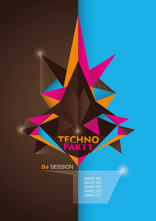 modish: Techno party poster design with geometric shapes.