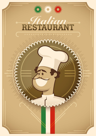 dekor: Vintage Italian restaurant poster design. Illustration