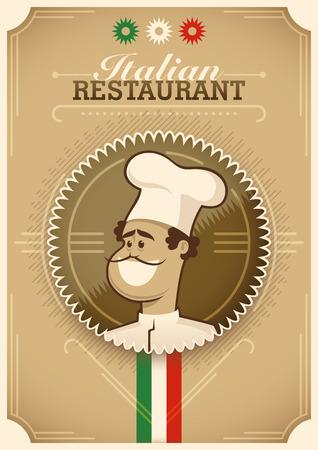 dekor: Vintage Italian restaurant poster design. Illustration