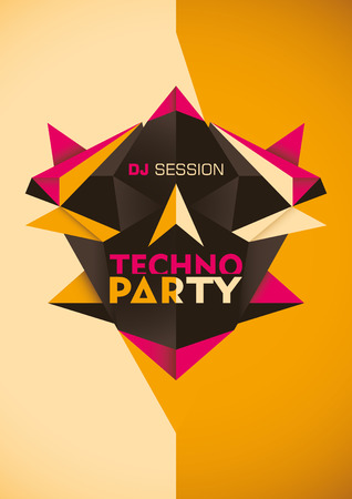techno: Abstract techno party poster. Illustration
