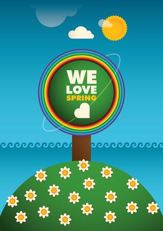 eco slogan: Colorful spring poster design.