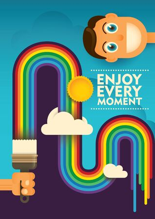 nose close up: Conceptual lifestyle poster with rainbow. Illustration