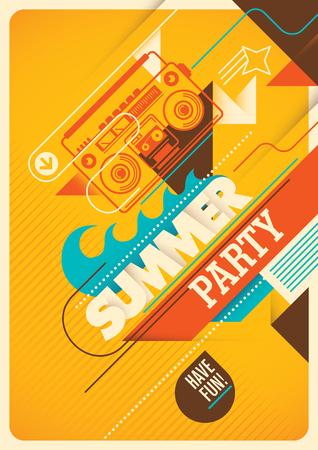 Summer party poster design. Illustration