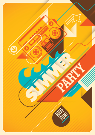 beach ad: Summer party poster design. Illustration