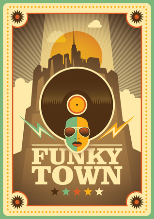 Funky town poster. Illustration