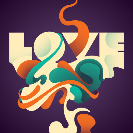 abstraction: Illustrated love background with abstraction. Illustration