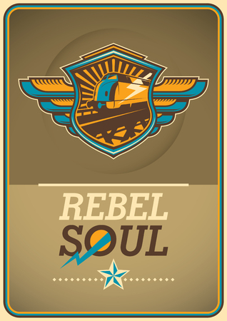 the soul: Soul rebel poster with locomotive.