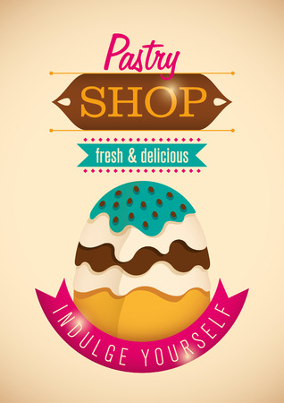 pastry shop: Illustrated pastry shop poster.