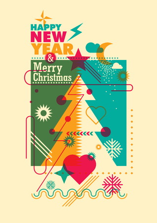 New Year and Christmas poster in color. Ilustrace