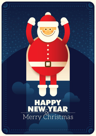 New Year poster with comic Santa.