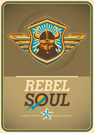 Rebel soul poster with viking coat of arms.