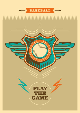 outfield: Retro baseball poster with coat of arms. Illustration