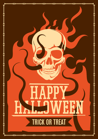 Halloween poster with skull.