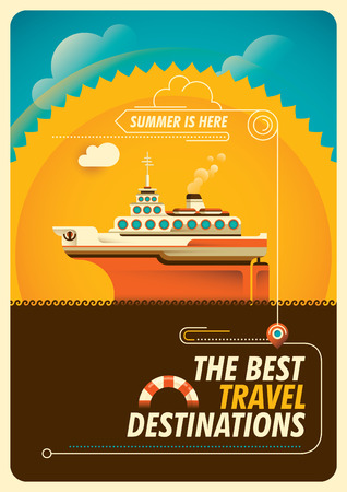 Travel poster with cruise ship.