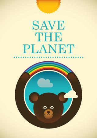 eco slogan: Ecology poster with comic bear. Illustration