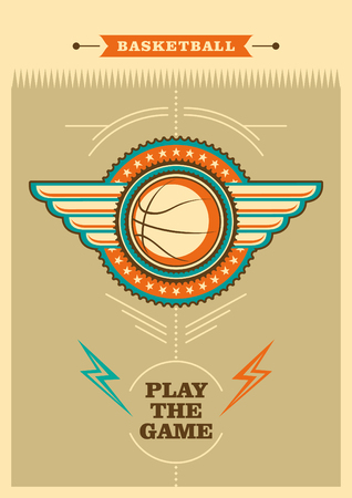 Retro basketball poster with coat of arms.