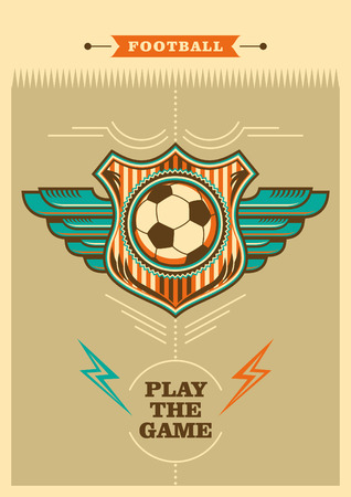 Retro football poster with coat of arms.