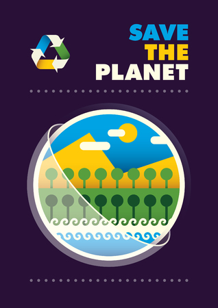 eco slogan: Colorful ecology poster.