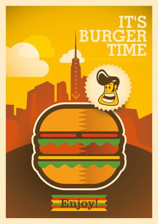 Retro burger poster design.