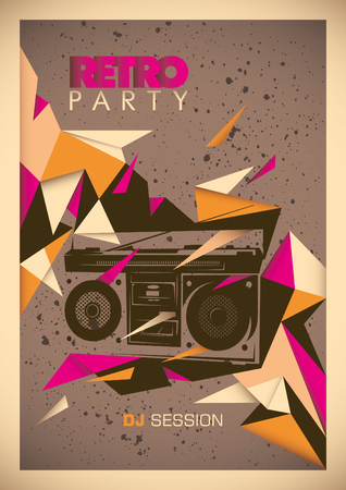 Retro party poster with abstract design.