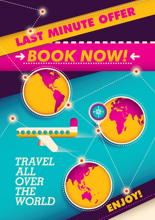 Traveling poster with colorful elements. Ilustrace